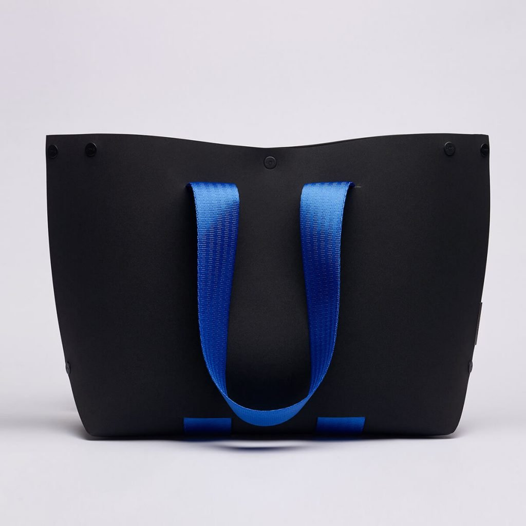 EvaTwo Tote Bag by Lommer Design in Black Color with blue strap