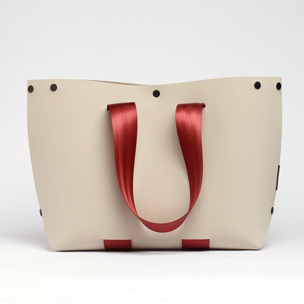 EvaTwo Tote Bag by Lommer Design in Stone Color with Bordeaux strap